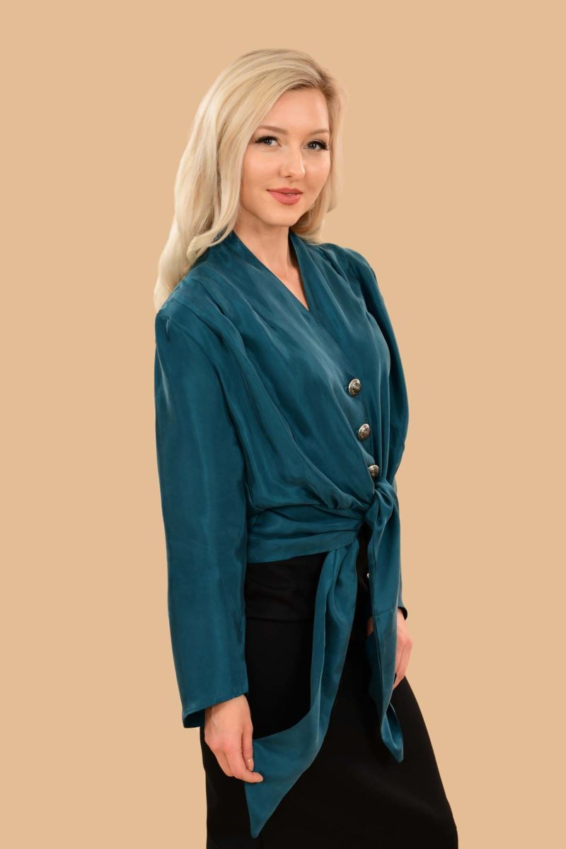 Bette Silky Viscose Long Sleeve Crop Jacket Dress Blouse Teal