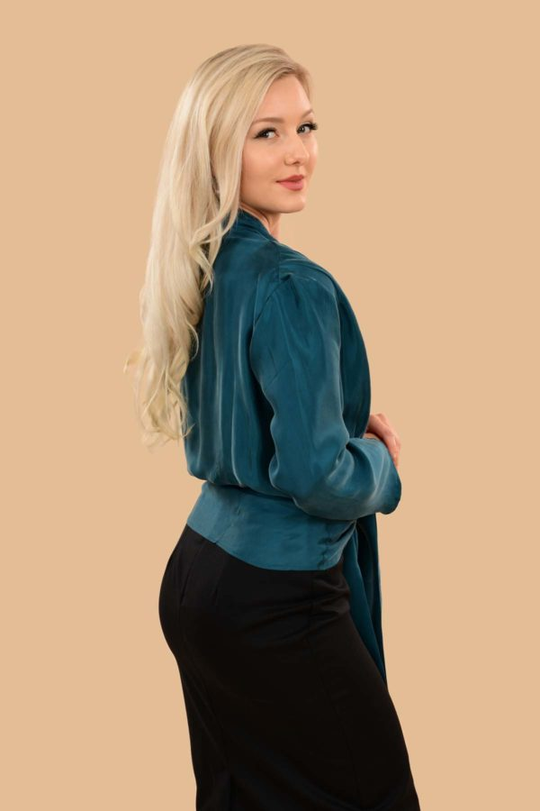 Bette Silky Viscose Long Sleeve Crop Jacket Dress Blouse Teal