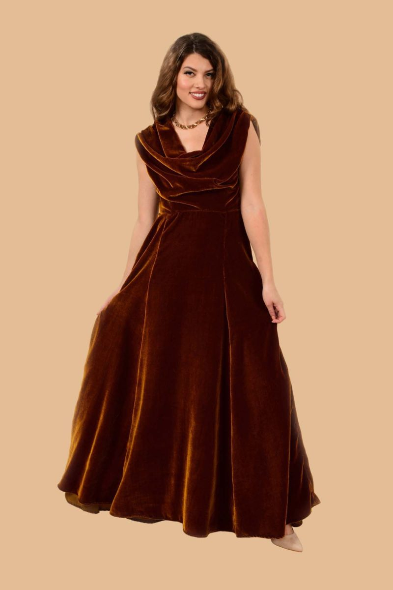 Carole Cowl Neck Velvet Evening Maxi Gown Gold Butterscotch