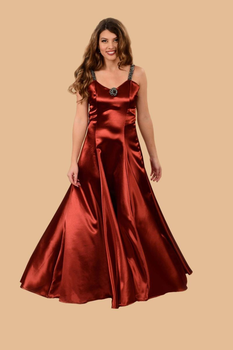 Ginger Satin Spaghetti Strap Rhinestone Beaded Ball Gown Copper Red