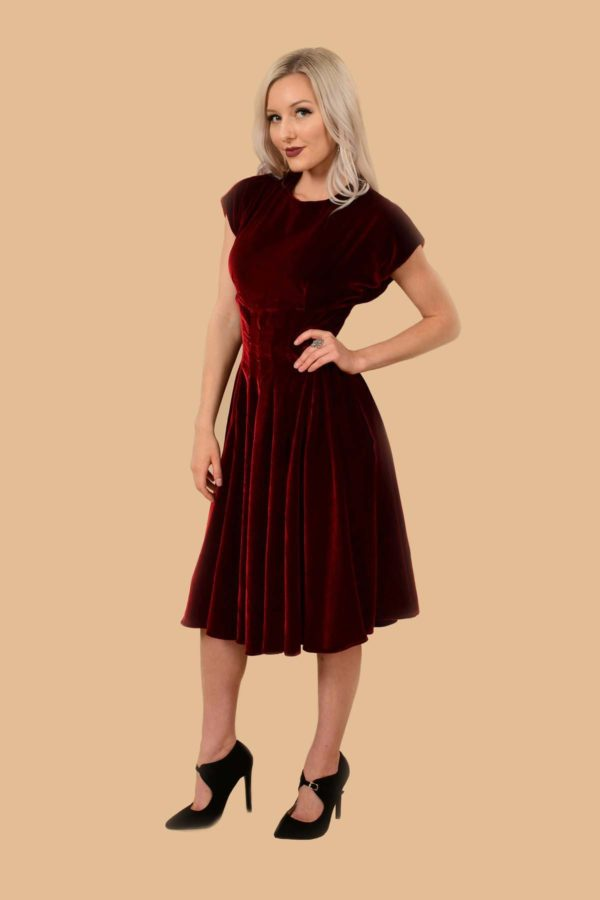 Judy Velvet Fit-And-Flare Midi Swing Event Dress Brick Red