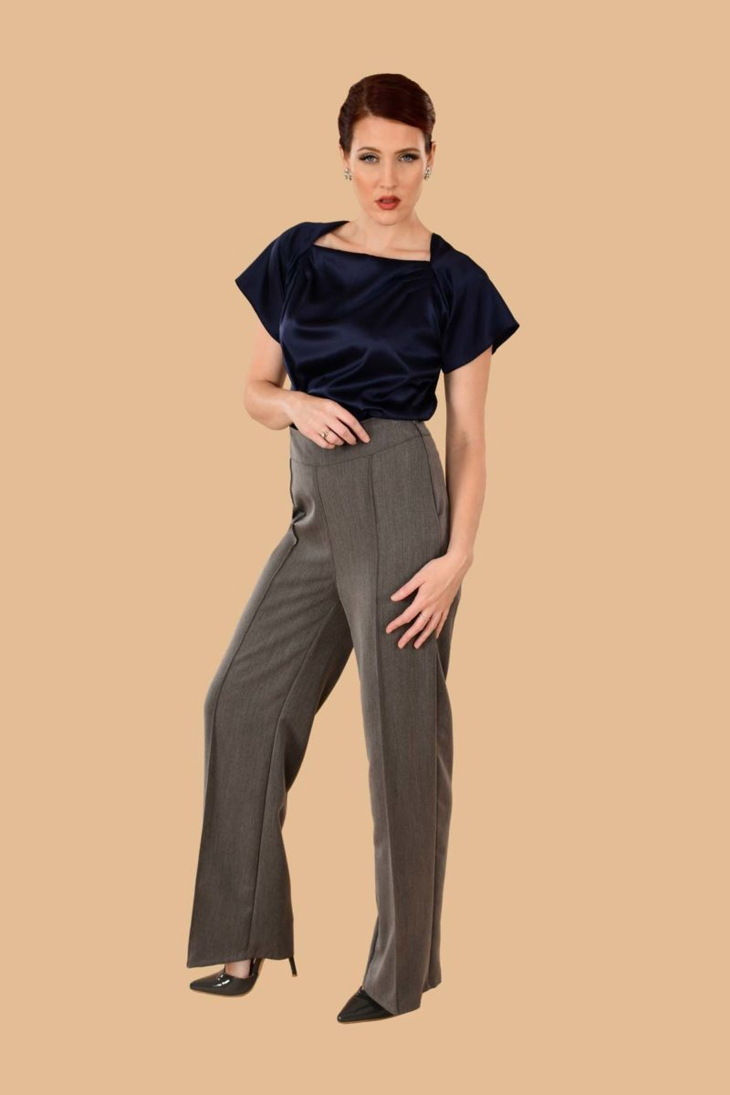 Lauren High Waisted Stretch Twill Wide Leg Sailor Pants Gray