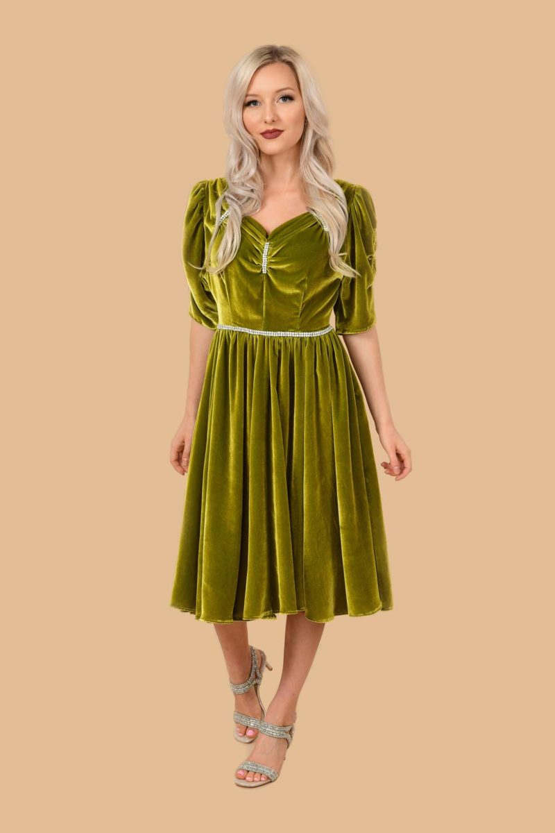 Veronica Silk Velvet Rhinestone Swing Dress Chartreuse