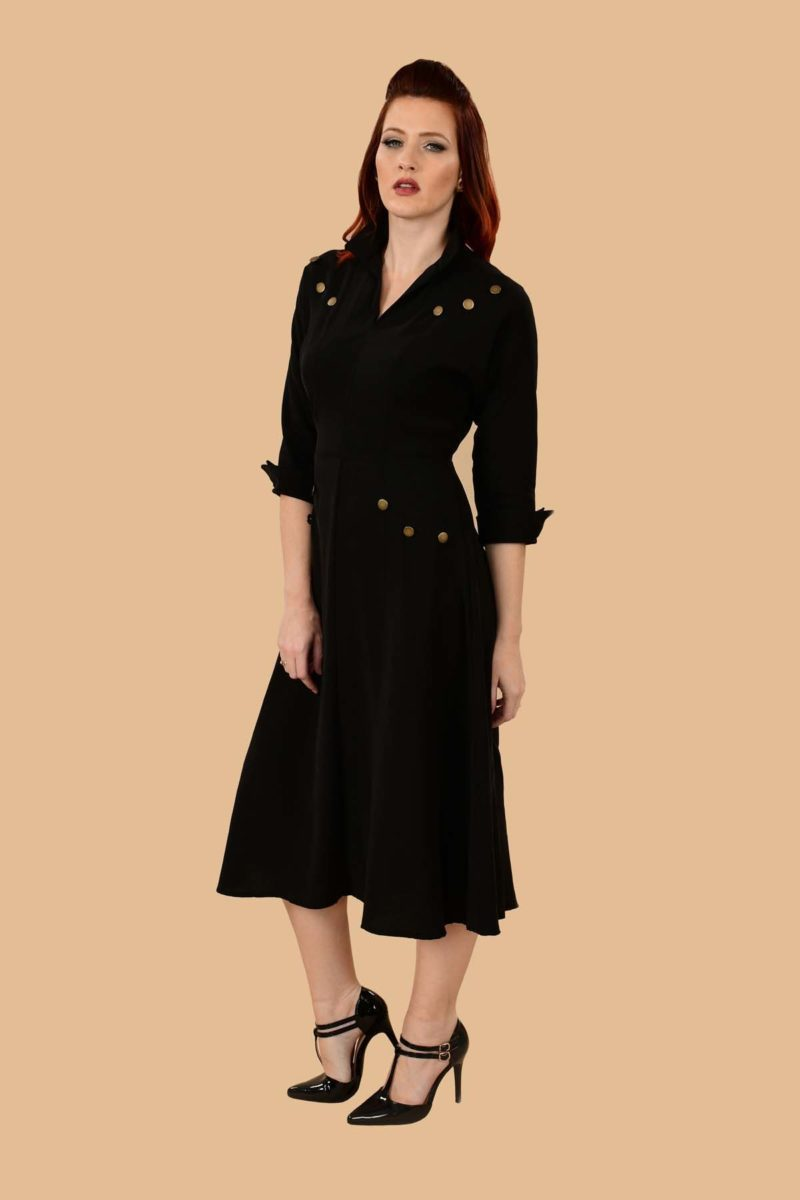 Ann Military A Line Viscose Secretary Midi Dress Black