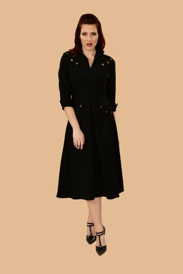 Ann Military A Line Viscose Secretary Midi Dress Black