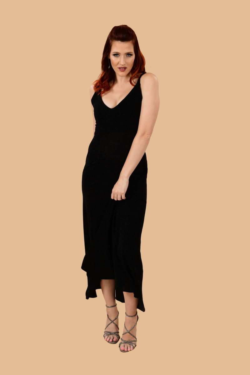 Ann Slinky Slip Dress Black
