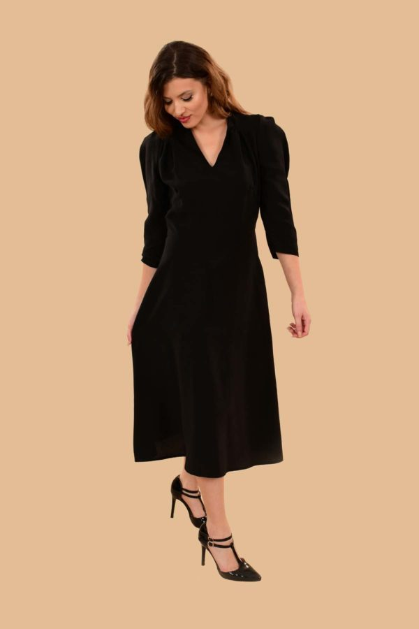 Ava Puff Sleeve Pleated A Line Rayon Midi Dress Black