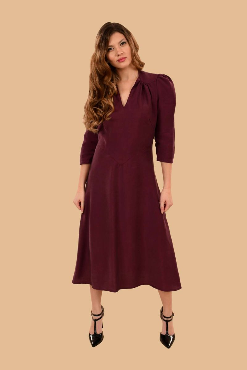 Ava Puff Sleeve Pleated A Line Rayon Midi Dress Burgundy Plum