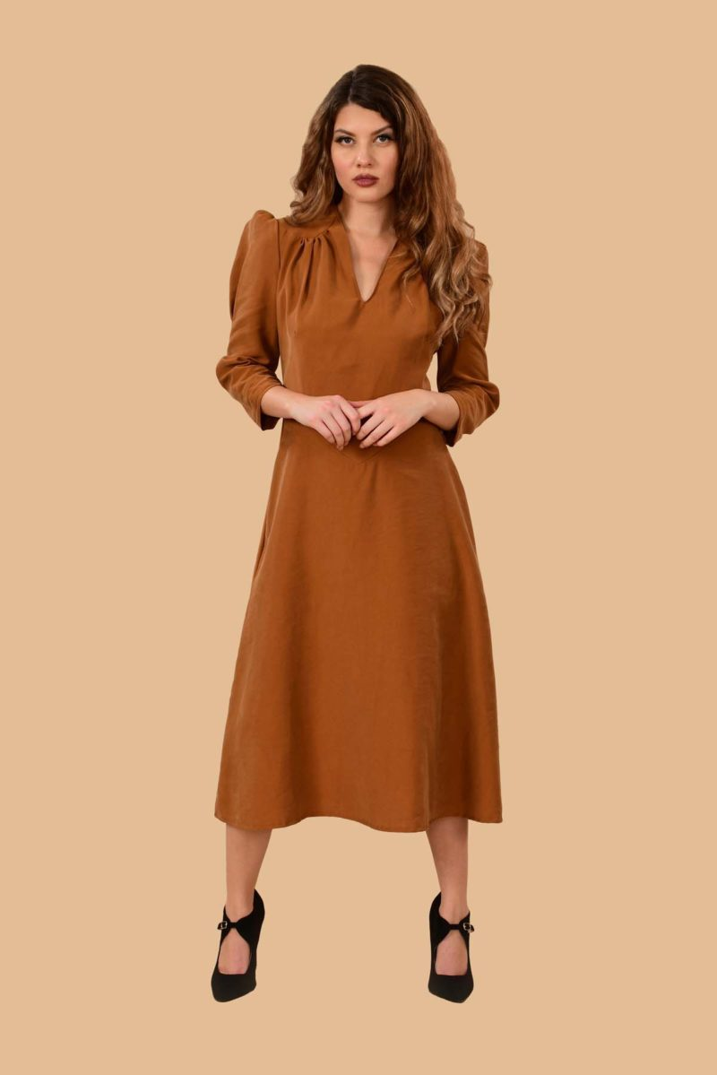 Ava Puff Sleeve Pleated A Line Rayon Midi Dress Camel Tan