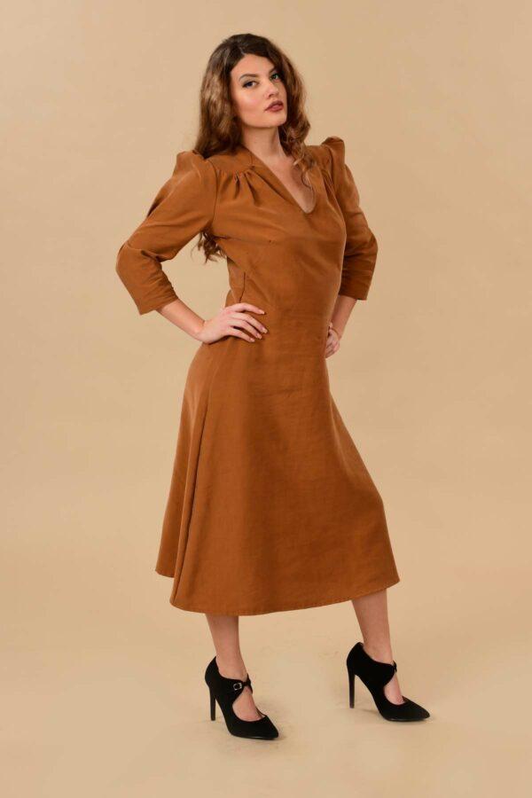 Ava Puff Sleeve Pleated A Line Rayon Midi Dress Camel Tan