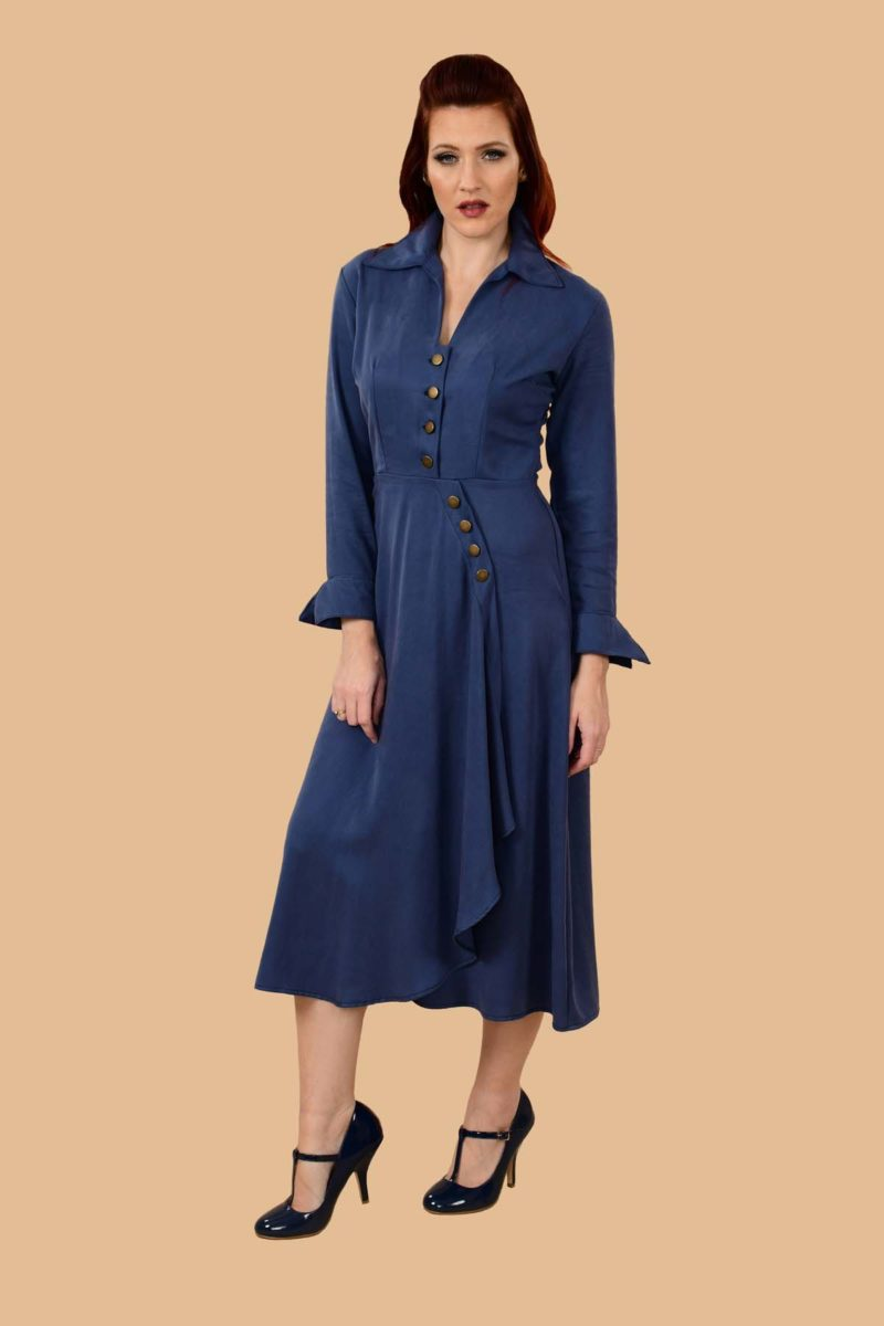 Barbara Military Style Front Slit Shirt Dress Midi Denim Blue