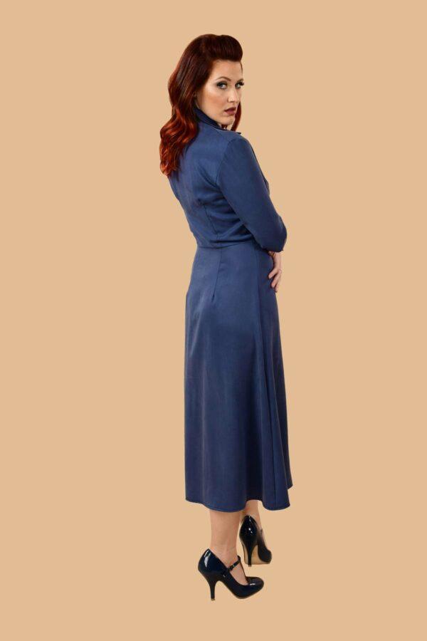 Barbara Military Style Front Slit Shirt Dress Midi Denim Blue