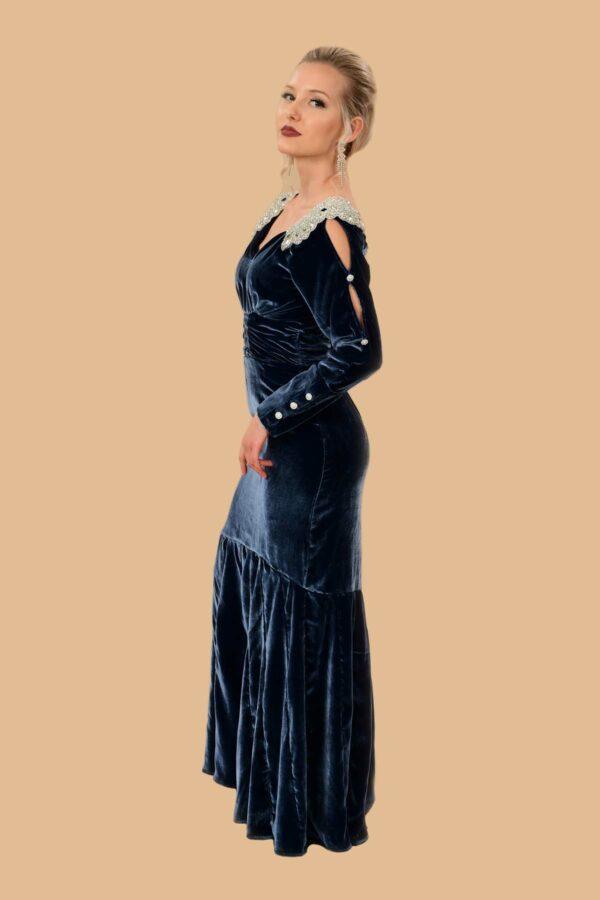 Elizabeth Silk Velvet Rhinestone Gown Colbalt