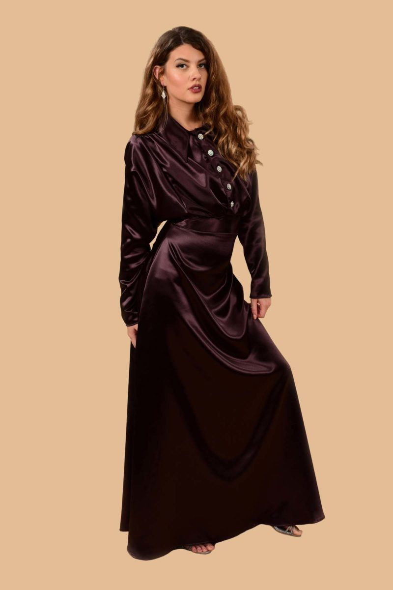 Elsa Pointy Collar Gothic Long Sleeve Satin Maxi Dress Raisin Purple