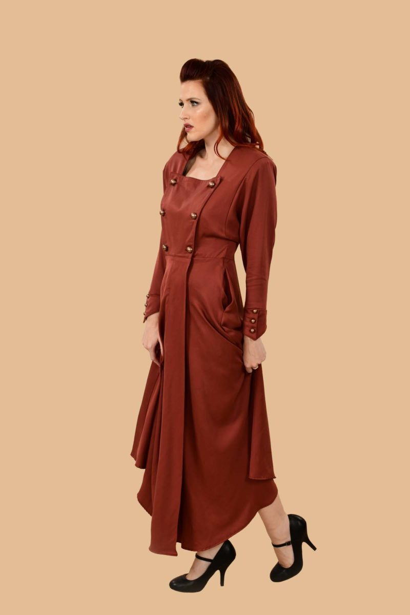 Ginger Military Batwing Wrap Maxi Dress with Pockets Auburn Red