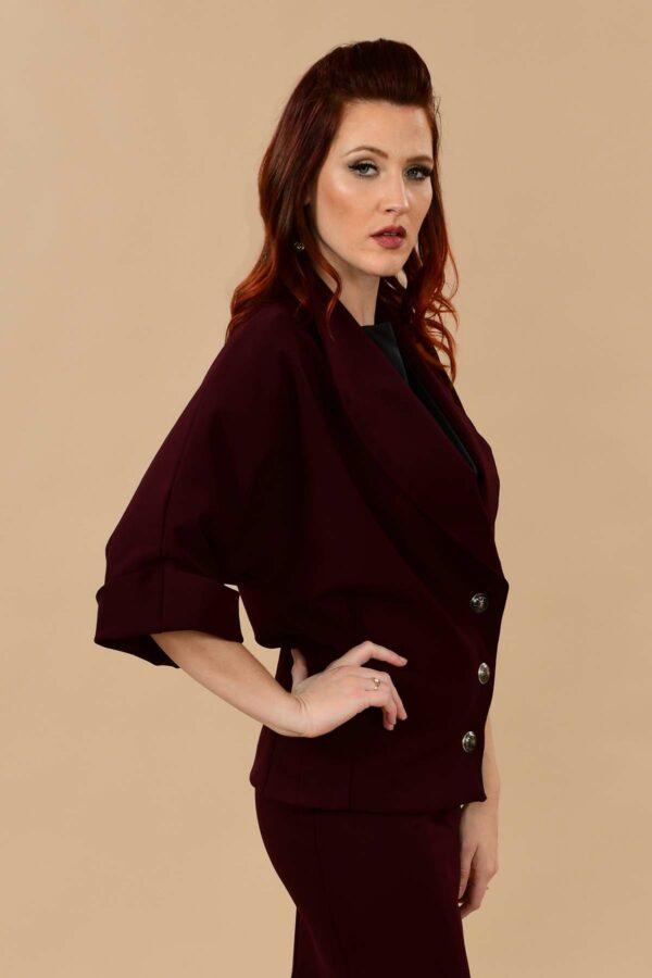 Greta Batwing Ponte Suit Jacket Blazer Burgundy Plum