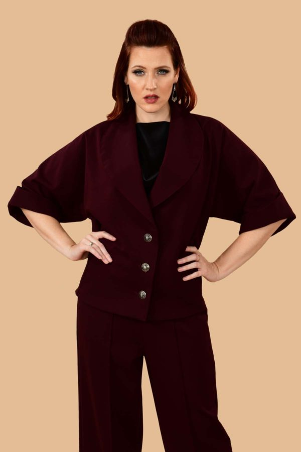 Greta Batwing Suit Jacket Plum
