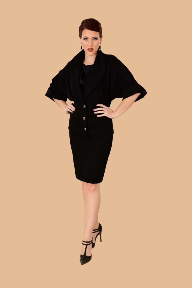 Greta Office Professional Ponte Pencil Skirt Suit Black
