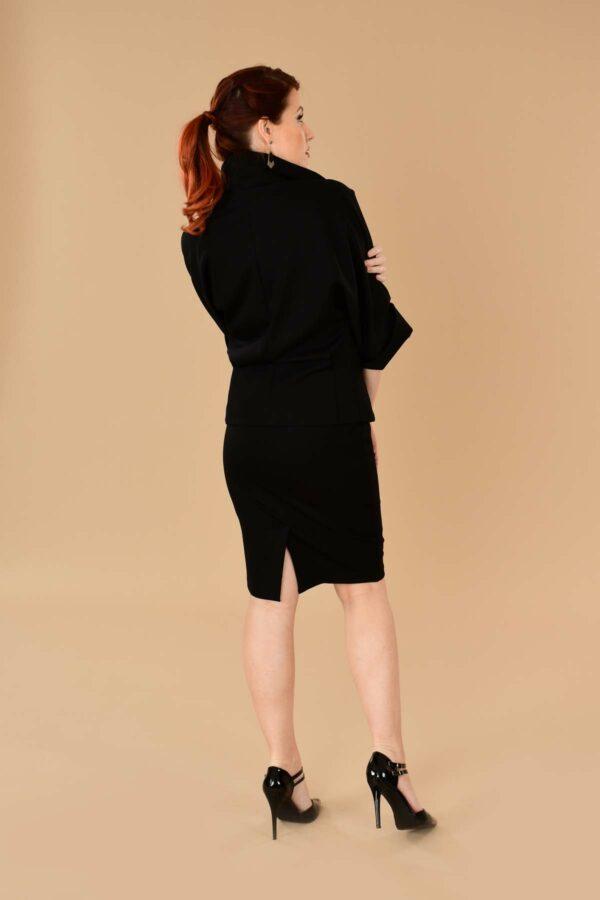 Greta Office Professional Ponte Pencil Skirt Suit Black