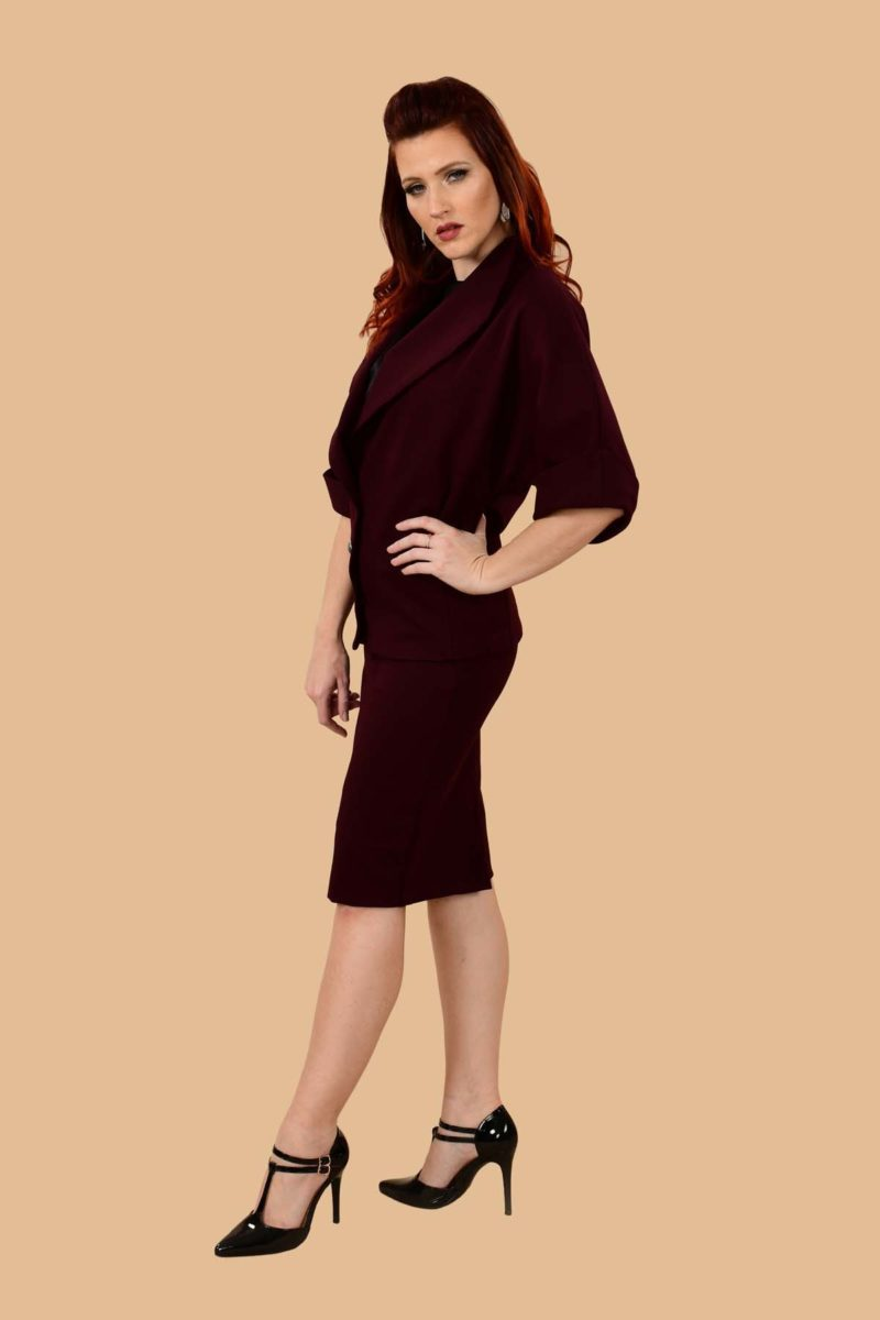 Greta Office Professional Ponte Pencil Skirt Suit Burgundy Plum
