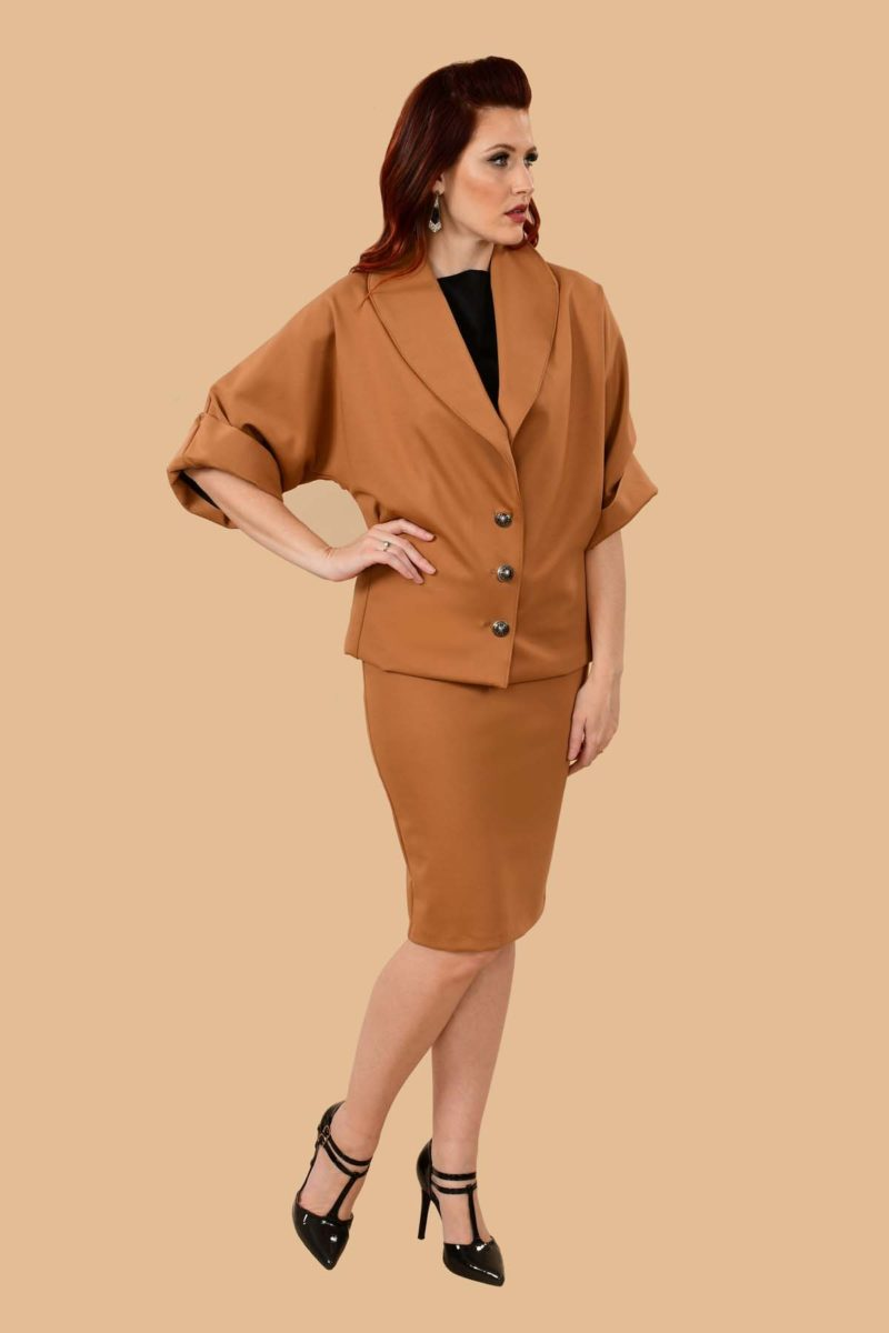 Greta Office Professional Ponte Pencil Skirt Suit Camel Tan