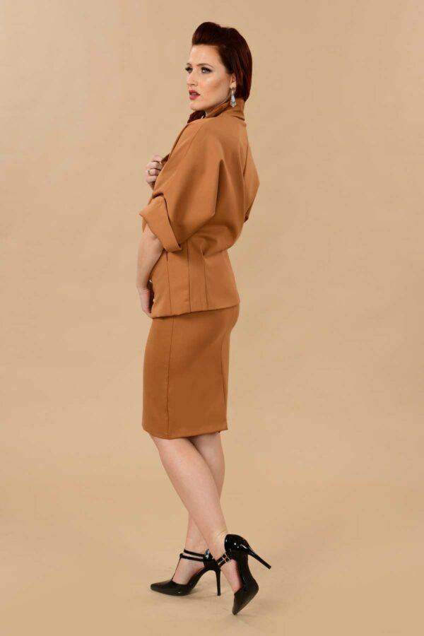Greta Office Professional Ponte Pencil Skirt Suit Camel Tan
