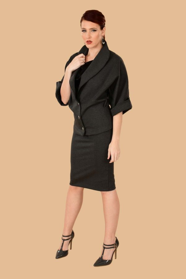 Greta Batwing Ponte Suit Jacket Blazer Gray Charcoal