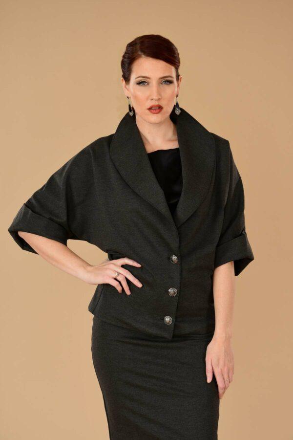 Greta Office Professional Ponte Pencil Skirt Suit Gray Charcoal