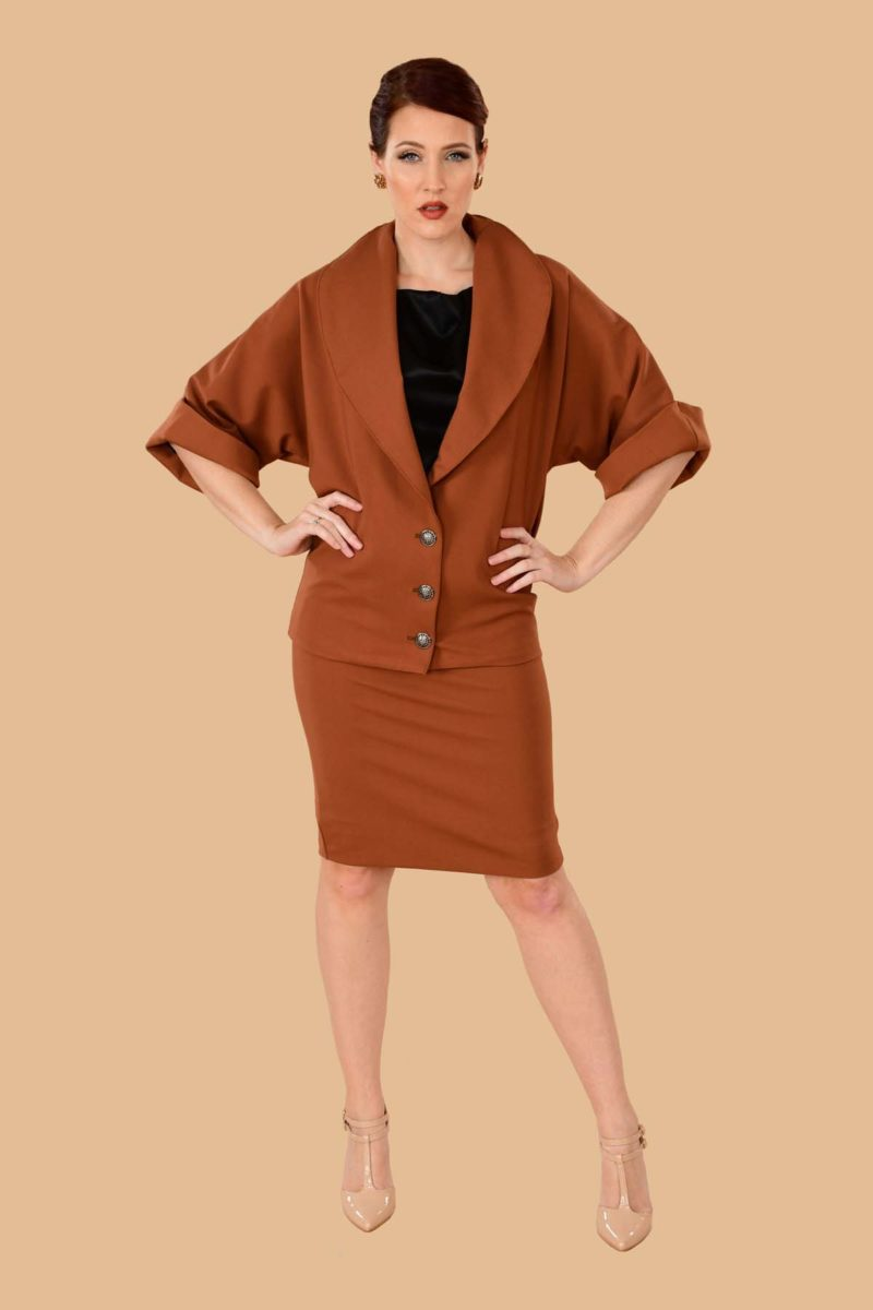 Greta Office Professional Ponte Pencil Skirt Suit Orange Rust