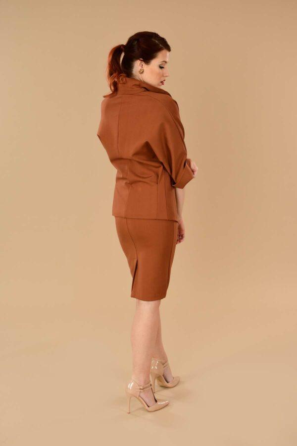 Greta Office Professional Ponte Pencil Skirt Suit Orange Rust