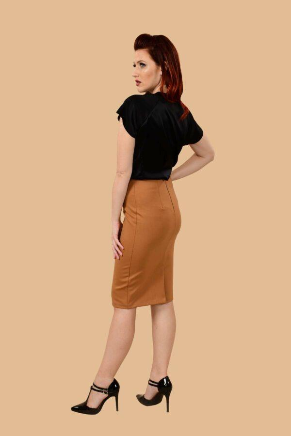 Greta Stretchy Ponte Knee Length Pencil Skirt Camel Tan