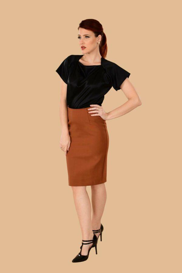 Greta Stretchy Ponte Knee Length Pencil Skirt Rust Orange