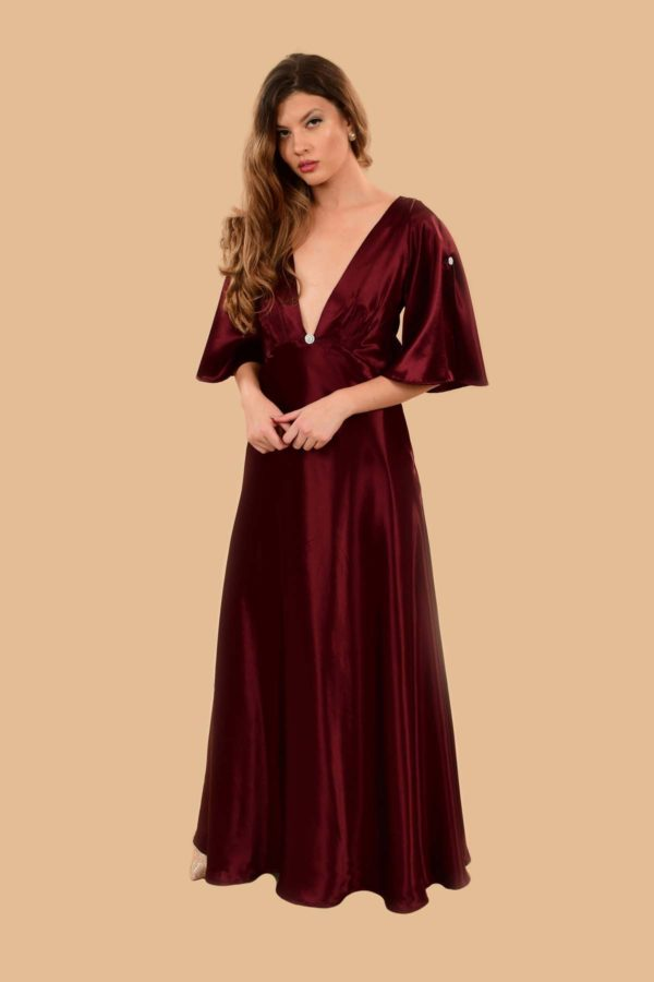 Hedy Super Low V Bell Sleeve Satin Evening Gown Burgundy Red