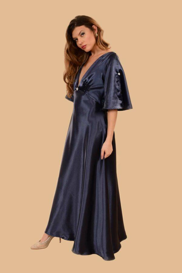 Hedy Super Low V Bell Sleeve Satin Evening Gown Cobalt Blue