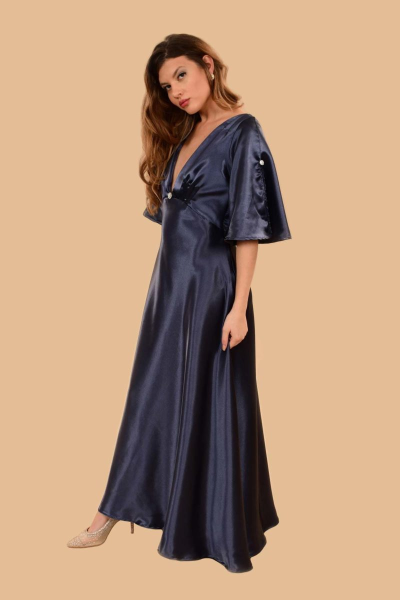 Hedy Super Low V Bell Sleeve Satin Evening Gown Cobalt Blue