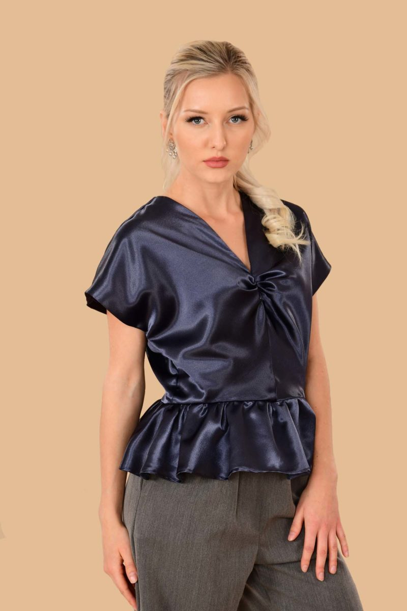 Irene Shiny Satin Evening Peplum Dress Blouse Blue Cobalt