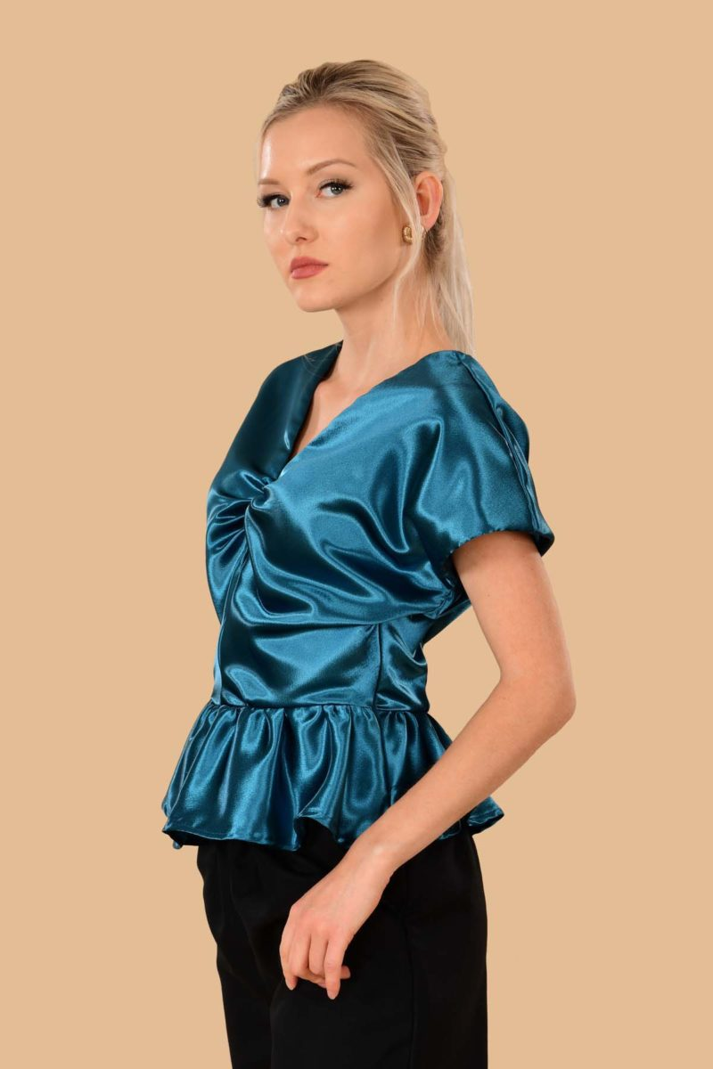 Irene Shiny Satin Evening Peplum Dress Blouse Peacock Blue