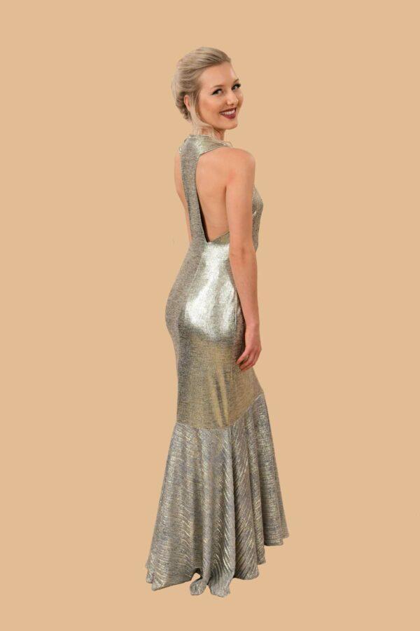 Jean Gold Shimmer Open Back Stretch Knit Mermaid Formal Dress