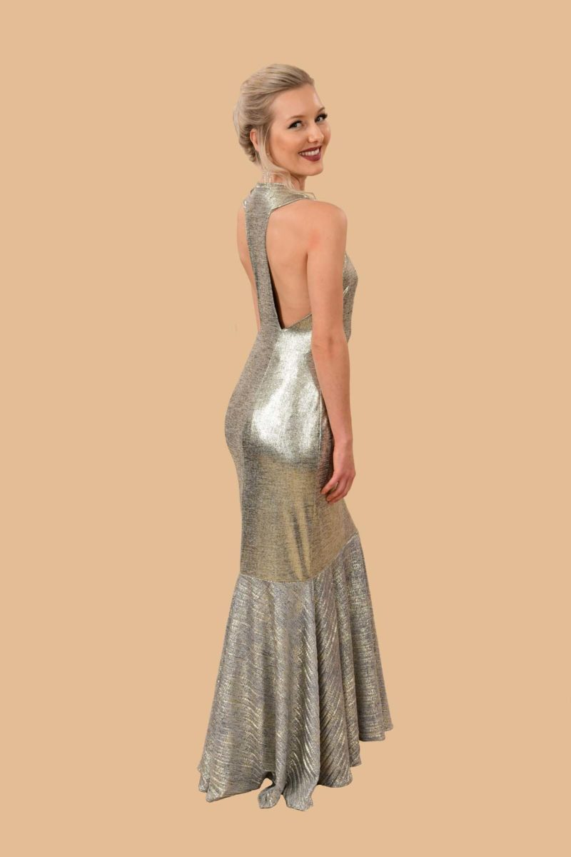 Jean Gold Shimmer Open Back Stretch Knit Mermaid Formal Dress