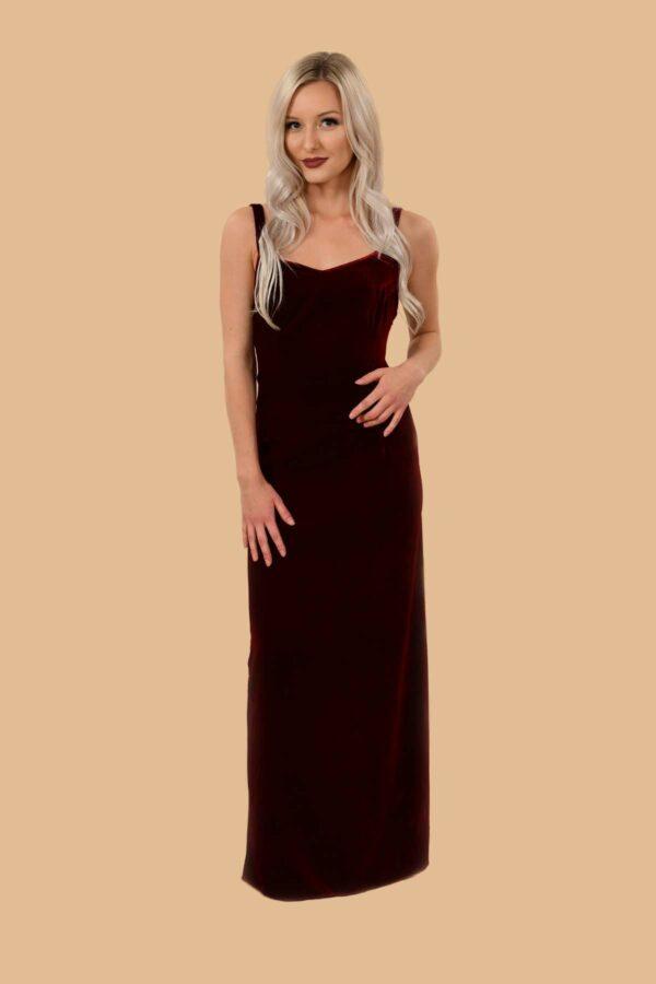 Joan Velvet Sweetheart Neckline Formal Slip Dress Brick Red