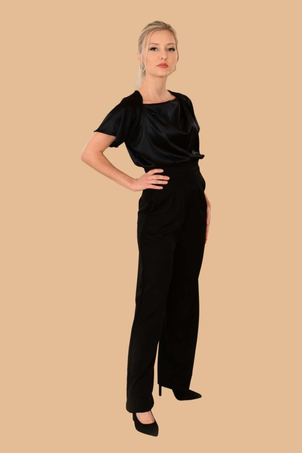 Katherine Black Wool Pleated Side Zip Tailored High Waist Dress Pants