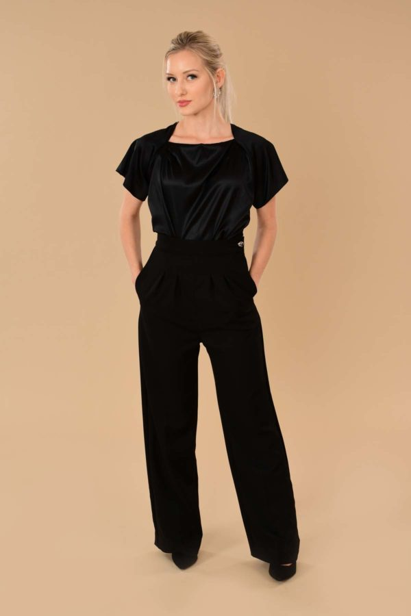 Katherine Black High Waist Stretch Twill Pleated Side Zip Wide Leg Dress Pants
