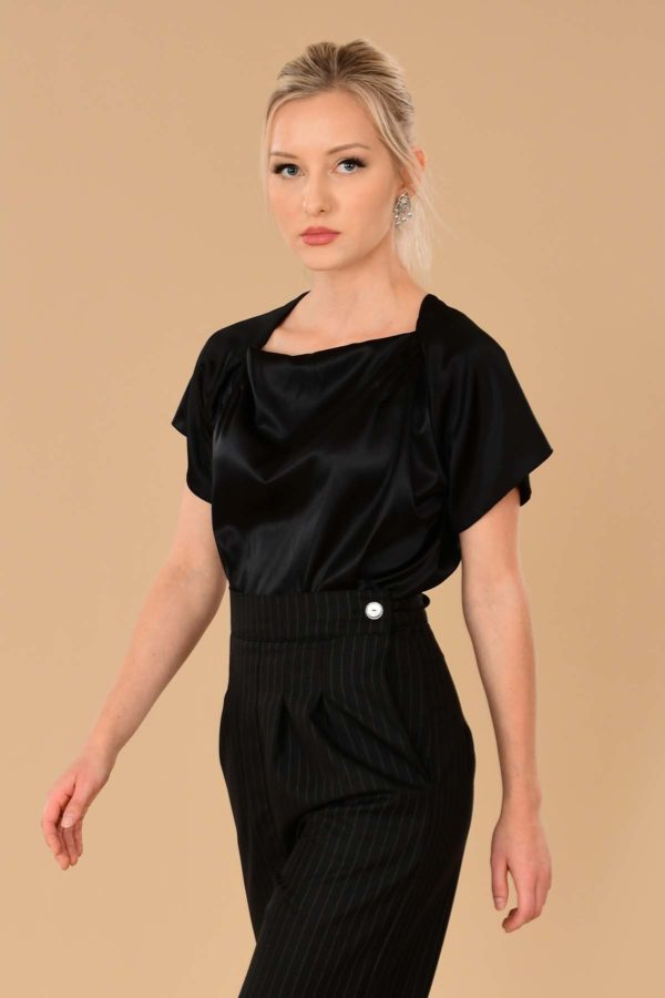 Katherine Black Silk Stretch Charmeuse Tailored Perfect Evening Blouse