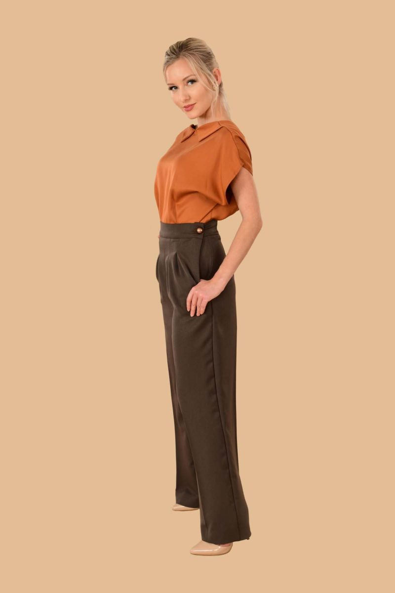Katherine Brown High Waist Stretch Twill Pleated Side Zip Wide Leg Dress Pants