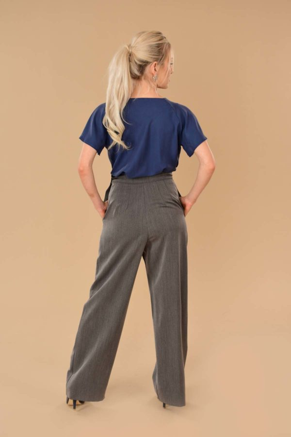 Katherine Gray High Waist Stretch Twill Pleated Side Zip Wide Leg Dress Pants