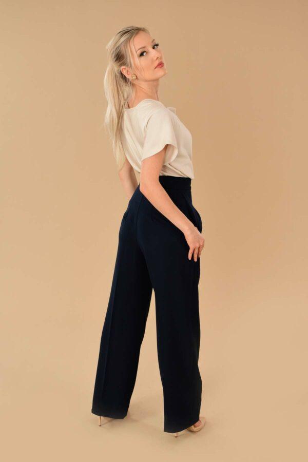 Katherine Navy High Waist Stretch Twill Pleated Side Zip Wide Leg Dress Pants