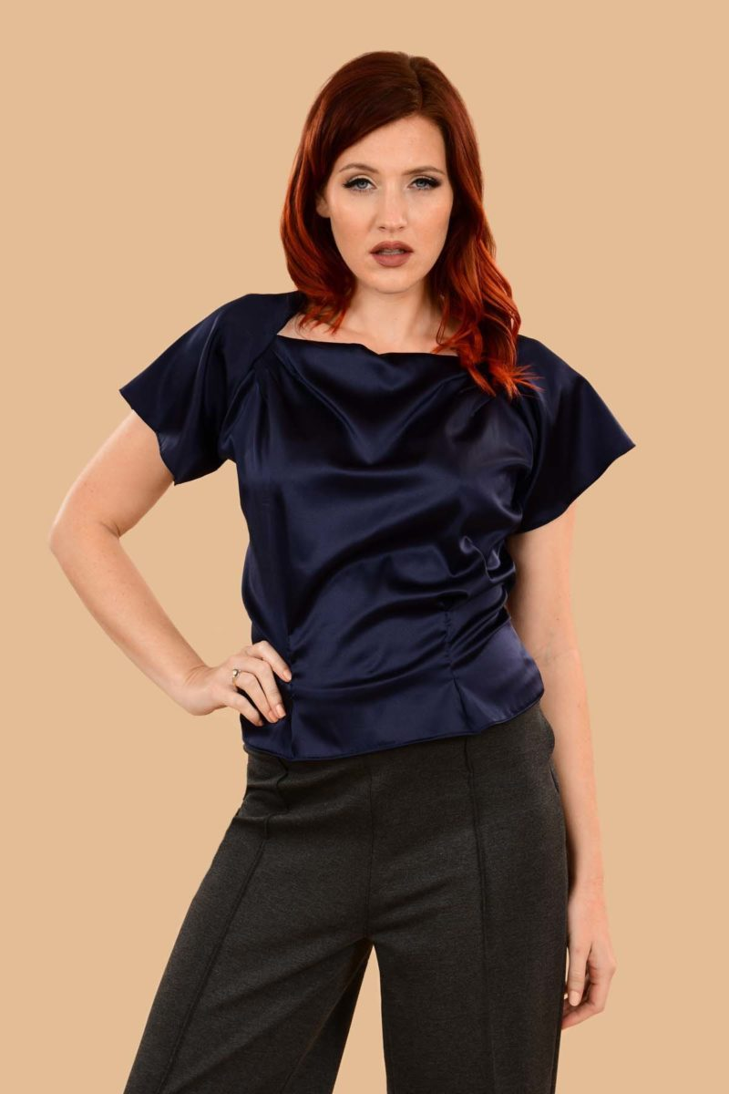 Katherine Navy Silk Stretch Charmeuse Tailored Perfect Evening Blouse