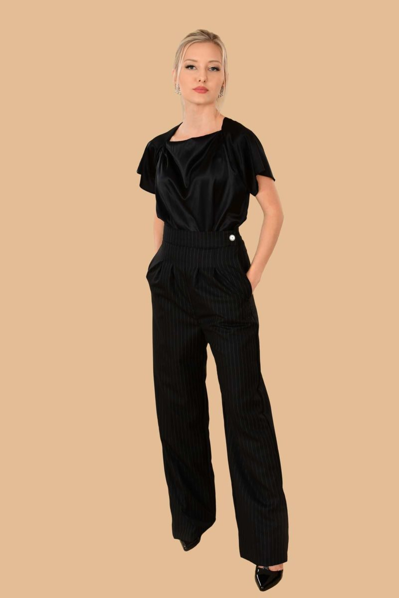 Katherine Pinstripe Pleated Side Zip Tailored High Waist Dress Pants