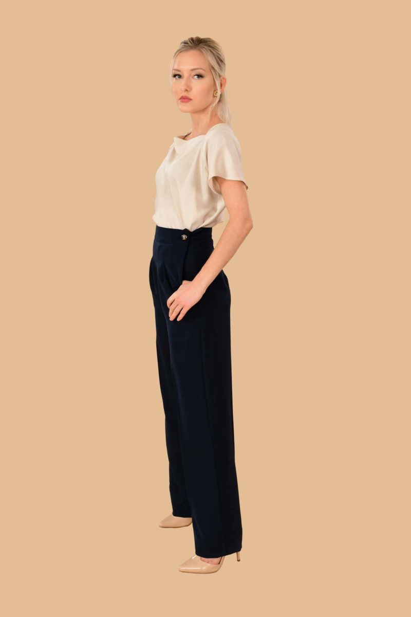 Katherine Pleated Pant Traveler Navy
