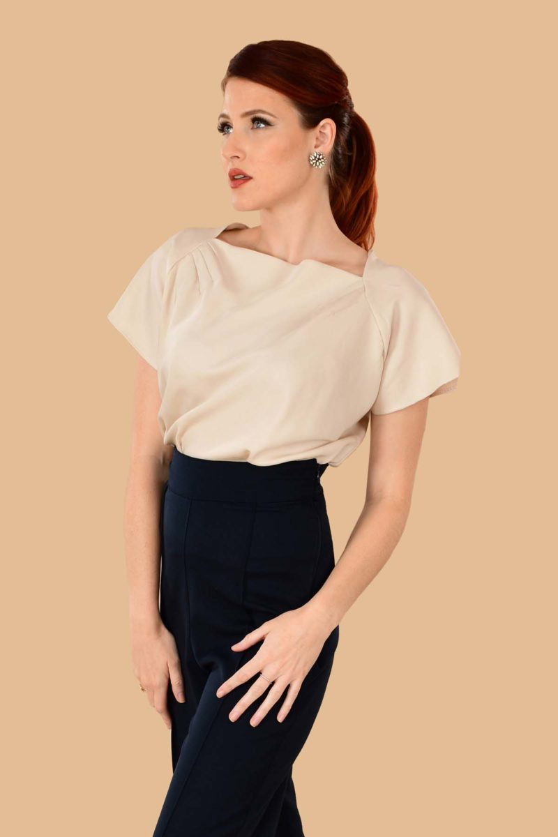 Katherine Short Sleeve Boatneck Rayon Perfect Work Blouse Bone Ivory